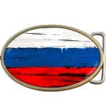 Russian Grunge Russia Flag Belt Buckle. Code A0036